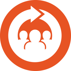Join/Renew icon - a orange circular icon with a white icon of people inside of it