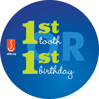 a graphic that says 1st Tooth or 1st Birthday